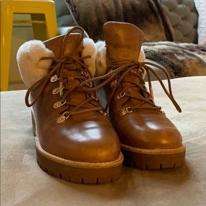 Michael Kors Leather Boots with Shearling Top